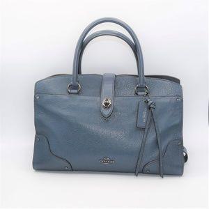 Coach Whiplash Mercer Satchel 30 Leather Blue